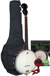 Blue Moon Openback Tenor Banjo Pack Includes bag, tuner, picks, tutor book