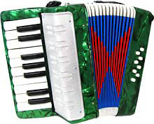 Scarlatti Child's Piano Accordion, Green In green with 17 treble keys, 8 bass. C to E. Ideal for children