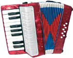 Scarlatti Child's Piano Accordion, Red with 17 treble keys, 8 bass. C to E. Ideal for children