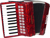 Scarlatti Piano Accordion, 12 Bass. Red Red pearl finish. 2 voice, 25 treble keys, G to G with straps.