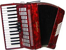 Scarlatti Piano Accordion, 48 Bass. Red Red finish, 26 keys, 3 treble couplers, 2 voice, 8 by 6 bass keys, with straps