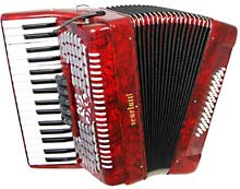 Scarlatti Piano Accordion, 48 Bass. 3v Red finish, 34 treble keys, 5 treble couplers, 3 voice, 12x4 bass, with straps