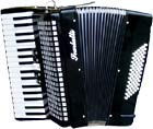 Scarlatti Piano Accordion, 72 Bass.Black Black finish, 3 voice, 34 treble keys, 5 register, with straps