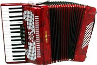 Scarlatti Piano Accordion, 72 Bass. Red Red pearl finish, 3 voice, 34 treble keys, 5 register, with straps