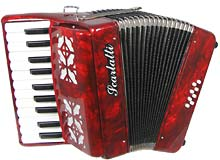 Scarlatti Piano Accordion, 8 Bass. Red A larger 8 bass accordion with 22 treble keys. Ideal as a starter instrument