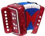 Scarlatti Child's 7 Key Melodeon, Red 2 bass buttons, 1 bass side air button and 7 treble in C, Mini Squeezebox!