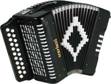 Scarlatti D/G Melodeon, Black 21 treble keys, 8 basses, 2 voice, complete with strap. With accidentals