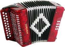 Scarlatti B/C Melodeon, Red 21 treble keys, 8 basses, 2 voice, complete with strap.