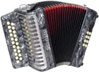 Scarlatti G/C Melodeon, Czech Durall Reed 21 treble buttons, 8 bass buttons. 2 voice, bass coupler, grey finish,