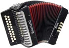 Scarlatti D/G Melodeon, Czech Durall Reed 21 treble buttons, 8 bass buttons. 2 voice, bass coupler, black finish,