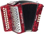 Scarlatti B/C Melodeon, Czech Durall Reed 23 treble buttons, 8 bass buttons. 2 voice, bass coupler, red finish,