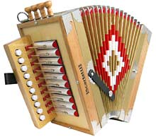 Scarlatti Cajun Melodeon in C 4 stop, natural wood finish