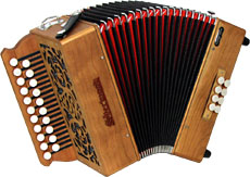 Sherwood G/C Melodeon, Cagnoni Reeds 2 row model with 21 treble buttons. 2 voice. 8 bass buttons with bass stop