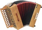 Sherwood D/G Melodeon, Cagnoni Reeds 2 row model with 21 treble buttons. 2 voice. 8 bass buttons with bass stop