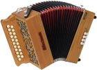 Sherwood B/C Melodeon, Czech Reeds 2 row model with 21 treble buttons. 2 voice. 8 bass buttons with bass stop