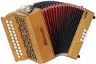 Sherwood G/C Melodeon, Cagnoni Reeds 2 row model with 23 treble buttons. 3 voice. 8 bass buttons with bass stop