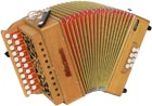 Sherwood D/G Melodeon, Cagnoni Reeds 2 row model with 21 treble buttons. 3 voice. 8 bass buttons with bass stop