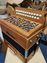Sherwood B/C Melodeon, Cagnoni Reeds 2 row model with 23 treble buttons. 3 voice. 8 bass buttons with bass stop