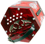 Scarlatti C/G Anglo Concertina, 20 Key Anglo 20 button in C/G, red pearl, plastic buttons,