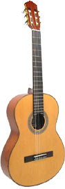 Delgada Classical Guitar, Full Size Solid spruce top, mahogany body, rosewood f/b, wood binding.