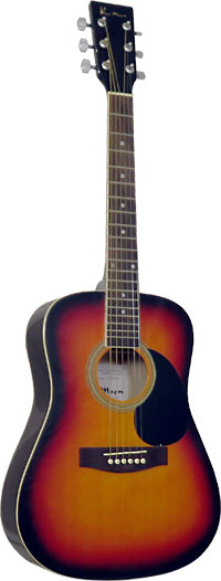 Blue Moon Mini Dreadnought Guitar, S/B 3/4 size body, steel strung. Vintage sunburst, spruce top, linden back & sides.