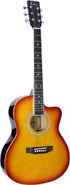 Blue Moon Small Body Guitar, Cutaway, S/B Cherry sunburst finish. Linden plywood top, back and sides