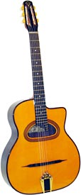 Gitane Maccaferri Style Guitar, D Hole Solid spruce top, r/w b&s, D soundhole, flat c/away, slotted headstock