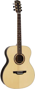 Ashbury 000 Guitar, Solid Spruce Top Solid engelmann spruce top with 2 piece rosewood back with maple centre strip.