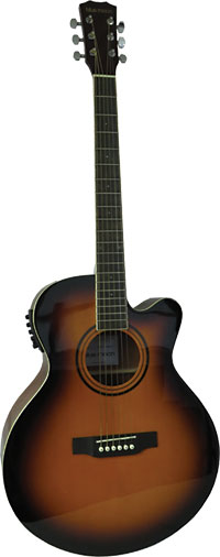 Blue Moon Electro Acoustic Guitar, S/B Spruce top with sapele body. Mini jumbo sized body with cutaway and pick-up.