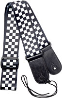Viking Fabric Guitar Strap. Chequered Patterned guitar strap. 6.5cm wide
