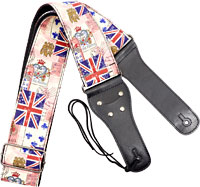 Viking Woven Guitar Strap. Cards Patterned strap with a black webbing back. 6.5cm wide