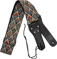 Viking Woven Guitar Strap. Diamonds Patterned strap with a black webbing back. 6.5cm wide