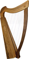 Glenluce 22 String Harp, 22 Levers Solid walnut sides with laminate spruce soundboard and back