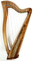Glenluce Dornal 27 String Harp 27 string harp ranging 3 1/2 Octaves C3 to A6. Colour coded semi tone levers