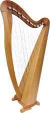 Glenluce Maberry 34 String Harp 34 string harp ranging 4 Octaves from C2 to A6. Colour coded semi tone levers