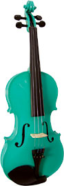Blue Moon Green Violin, Full Size 4/4 size. Green finish violin outfit, Solid spruce top, maple body.