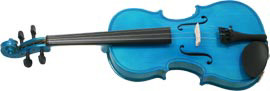 Blue Moon Blue Violin, 3/4 Size Coloured violin outfit, Solid spruce top, maple body. Ebonized fittings