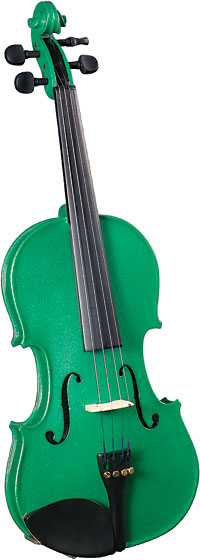 Cremona 3/4 Size Violin Outfit, Green US-made Prelude strings, the educator's preferred strings for students.