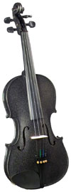 Cremona 3/4 Size Violin Outfit, Black US-made Prelude strings, the educator's preferred strings for students.