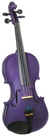 Cremona 3/4 Size Violin Outfit, Purple US-made Prelude strings, the educator's preferred strings for students.