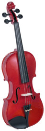 Cremona 3/4 Size Violin Outfit, Rose US-made Prelude strings, the educator's preferred strings for students.