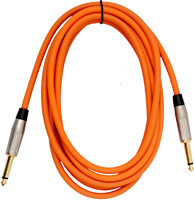 Viking Orange Guitar Lead 3m SS 3 metre guitar cable with two straight gold plated plugs