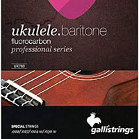 Galli Uke Strings, Baritone Fluoro Fluorocarbon. Keeps the pitch longer than traditional nylon