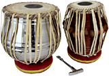 Atlas Set of Tabla Drums Chrome plated brass Dagga with cushions and hammer.