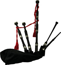 Bagpipes Galore Scottish Blackwood Bagpipes African Blackwood Button Mounts Beaded and Combed, Plain Ferules, Delrin chanter
