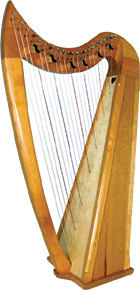 Stoney End Eve 22 string Harp, 6 Lever Harp. high head, Loveland levers on C & F strings with padded bag